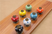 Wholesale Door Knobs For Cabinets - 20pcs Pack Dot Printed Colorful Ceramics Door Drawer Cabinet Furniture Handle Knob Screw Furniture Accessories Red Green 7 Color for Chooce