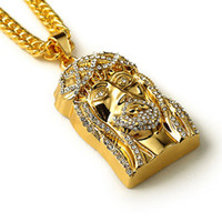 Wholesale jesus christ necklace - Gold Plated JESUS Christ Piece Head Face Hip Hop Pendant Necklace Charm Chain For Men and Women Trendy Holiday Accessories