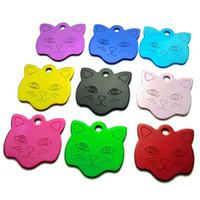 Wholesale Laser Pet Tags - 100pcs lot Blank and laser engravable Cat ID Tags, Mixed color Cat-Face design Pet cat name Tags pendants