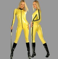 Wholesale White Leather Costume - Cosplay Halloween Costumes Yellow PVC artificial leather Siamese tight leather Halloween plays casual clothes underwear