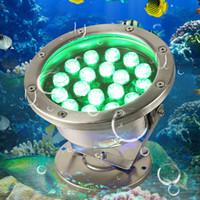 Wholesale Green Led Fishing - 6W 12W 18W 24W 30W 36W Red Green Blue IP68 CREE LED Underwater Aquarium Pool Fish Tank RGB Spot Light Lamp Pond Fountain Light 12V AC DC