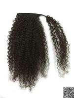 insan saçı renk uzantıları toptan satış-Kinky kıvırcık Afro at kuyruğu insan saç uzatma renk 1b etrafında İpli klip Brezilyalı Virgin Saç At Kuyruğu postiş wrap