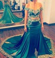 Wholesale Embroidered Kaftan Dress - Hunter Arabic Formal Evening Dress Dubai Kaftan Two Piece Prom Dresses Gold Beaded Embroidered Mermaid Gowns Vestido De Festa 2017