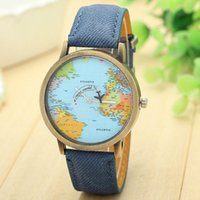 Wholesale Vintage Map Watch - Top Brand Watch For Men Global Travel By Plane Map Dial Wrist Watches Mens Vintage Denim Leather Analog Quartz Watch Reloj #S