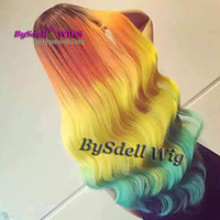 Wholesale Orange Front Lace Synthetic Wig - Long Loose Wave Rainbow Color Hair Wig Harajuku Style Synthetic Black Root Ombre Orange Yellow Blue Color Hair Lace Front Wigs for Woman