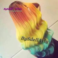ingrosso parrucca blu gialla-Parrucca di capelli lunghi arcobaleno onda sciolta Harajuku Sintetici di radice nera sintetica Ombre capelli di colore arancione giallo blu parrucca anteriore parrucche per donna