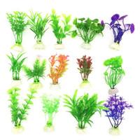 peixes artificiais decorativos venda por atacado-10 Pçs / lote venda Quente Artificial Verde Colorido Subaquática Planta Aquarium Aquarium Decoração Oranment Planta Decorativa