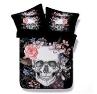 skull bedding al por mayor-NUEVO Estilo de Europa Cráneo Diseño de la Flor de Algodón de Poliéster 3 PCS Juego de Cama Funda de Almohada Reina Completa Rey Super King Size 401