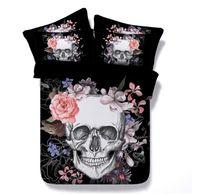 skull bedding toptan satış-YENI Avrupa Tarzı Kafatası Çiçek Tasarım Polyester Pamuk 3 ADET Yatak Seti Yastık Tam Kraliçe Kral Süper Kral Boyutu 401