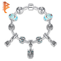 Wholesale Tibetan Silver Drop Beads - BELAWANG Drop Ship Owl Charm Animal Beads Fit Original Charm Bracelet Tibetan Silver Murano Glass Bracelets For Women Fashion Jewelry Gift