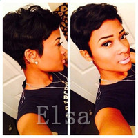 Wholesale African American Baby Hairstyles - Sale Best Pixie short Human Hair wigs for Black Women 100% Human African American lace Wig with Baby hair Short Hair Wigs