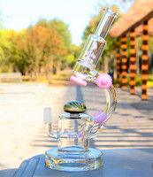 Wholesale Decoration Glass - New Glass water pipes Glass bongs with rocket perc and UFO perc 14.5mm joint with pink decoration