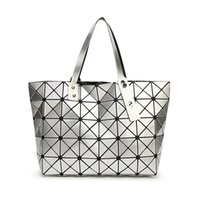 Wholesale Handbag Mirror Silver - Fashion Handbags Laser Geometry Package Luminous Sequins Mirror Plain Folding Tote Women Shoulder Bags Bao Bao Bag