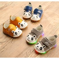 Wholesale Infant Pre Walkers - 2017 Spring Autumn Baby genuine leather Led first Walker Infants light up shoes cute Panda Pre-Walkers for boys and girls 0-2T 3colors 5size