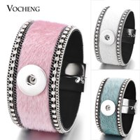 Atacado- Vocheng Ginger Snap Button Bracelet 5 cores Leather Magnet Clasp Inlaid Crystal Fit 18mm Snaps NN-462 Frete Grátis