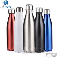 Wholesale Good Water Bottles - Good quality Water Bottle Double Layers Vacuum 304 Stainless Steel 500ml Cola Bottle coffee mugs Creative Cups Healthy Drinking