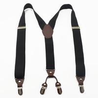 Wholesale Mens Clip Y Suspenders - Wholesale- Adults good quality women Suspenders Mens Supper Suspender 4 Clip-on Y-Back BLACK Braces Elastic Suspender 3.5cm Width