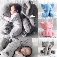 Wholesale elephant stuffed - Baby Elephant Plush Stuffed Doll 60CM Long Nose Kids Cushion Lumbar Pillow Sleep Pillow Cartoon Cute Animal Toys OOA3246