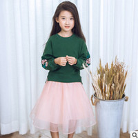 Wholesale Womens Skirt Suit Sets - Mother and dauther outfits girls womens floral embroidery sweater+gauze pleated skirt 2pc sets family autumn suits kids cotton clothes T0337