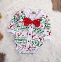 Wholesale Snow White Romper - Christmas Baby rompers Kids red bows tie rompers Infants Deer snow printed romper+ cotton white romper 2pcs sets Toddlers jumpsuits A00057