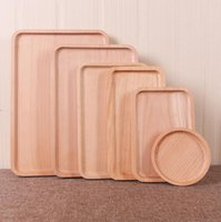 Wholesale Pizza Factory - Wooden Tray Rectangle Beech Wood Fruit Cake Tea Western Dinner Plate Pizza Real Wood Plate Factory Customization