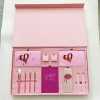 Wholesale Pink Cosmetic Makeup Brushes - Kylie Cosmetics Birthday Collection I Want It All Pink Birthday Edition Eyeshadow palette Blush brush Kylie Jenner Lipstick Makeup big Set
