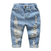 Wholesale High Waist Jeans For Kids - High Quality Shorts Ripped Boys Blue Girls blue Jeans Pants Fashion Kid Jean Suit for Children Denim Trousers Toddler Clothing