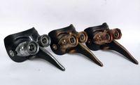 Wholesale Venetian Mask Brown - NEW DESIGNED LONG NOSE STEAMPUNK MASK, UNIQUE SHAPE, LUXURY COMBINES BROWN GREY COLOR,VENETIAN PLASTIC MASK,1LOT=2PCS