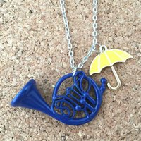 Wholesale Wholesale French Horn - Wholesale-Freeshipping 1pc a lot HIMYM How I Met Your Mother Yellow Umbrella mother Blue French Horn Necklace UNU02