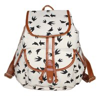 Wholesale Animal Gym Bag - Popular Backpack Swallow Print Canvas Shoulder Bag Gym Bags Top Quality 2017 New Arrival Wholesale Freeshipping...