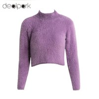 Wholesale Mohair Knitwear - Wholesale-Women Sweaters And Pullovers Knitted Fluffy Sweater Jumper Crop Top Turtle Neck Long Sleeve Mohair Slim Pullover Knitwear