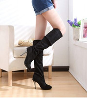 Nova chegada Hot Sale Specials Afluxo Sweet Girl Sexy Spike Retro Suede Black Slim Straight Elastic Stovepipe Heels Knee Boots EU34-43