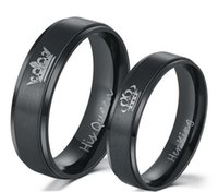 ingrosso anelli neri opachi-Re e Queen Black Couples Anello con anello di nozze con finitura opaca polacca Comfort Fit