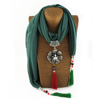 Wholesale Knitting Beads Scarf - 2017 hot selling wowen soft pendant scarf six colors mixed charm tassel beads necklace high quality free shipping scarf necklace