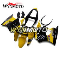 ingrosso corredo del corpo giallo di kawasaki giallo-Carene nere gialle per Kawasaki ZX6R 2000 - 2002 Carter iniezione plastica ABS Scafo Carena moto Kit carrozzeria Carrozzeria Telai