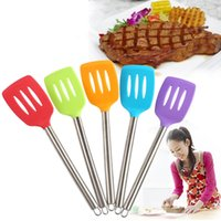 Wholesale Stainless Steel Spatulas - Silicone Stainless Steel Spatula 34*8.3CM Slotted Silicone Spatula Not Sticky Pot Heat Resistant Shovel Cooking Utensils OOA3001