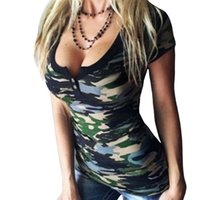 Wholesale Low Cut Top Sleeves - Camouflage T-Shirts For Women Summer 2017 Sexy Deep O Neck Low Cut Bandage Tee Shirt Tops Female Short Sleeve Women T-Shirt XL