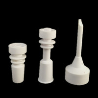 Wholesale ceramic tools - 1set Ceramic nail + Carb cap dabber Glass Bong wax pen tools rig rigs oil dab male famele 18mm 14mm bongs bowl water pipe smoking accessory