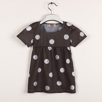 Wholesale Leopard Dress T Length - Brown With White Dot Baby Girls Clothes Newborn Dress Baby One-Piece Dresses Girl Jumpers Hot Sale Summer T-Shirt