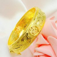 Wholesale Dragon Phoenix Rings - Top quality 24k Gold-plated Dragon and phoenix double xi word Bangle for women bride wedding gift