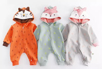 Wholesale animal fox hoodie online - 3 colors New fall infant Kids romper Long Sleeve Cartoon fox Hoodie romper high quality cotton baby autumn Climb romper