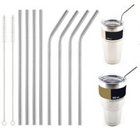 Wholesale Travel Juice Cup - YETI Cups Drinking Straw Beer Juice Straws 304 Stainless Steel Travel Mugs Metal Sucker Straws Cleaning Brush For Yeti 20oz 30oz Cups