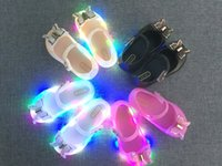 Wholesale Green Led Fishing - 2017 New Mini LED Flash Butterfly Jelly Shoes Butterfly Knot Soft Bottom Fish Head Girls Sandals Baby Shoes 4 Color Mini
