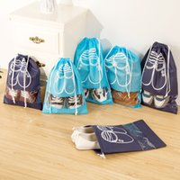 Wholesale Pouch Bag For Shoes - Portable Travel Storage Bag For Shoes Non-woven Drawstring Shoes Bags 4 colors 10 Pcs in one pack Clothes Visible Window Pouch Organizer