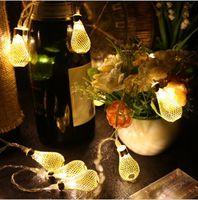 Wholesale Water Lanterns Wedding - LED lantern Battery strip Light metal hollow water droplets decorative wedding Lamp Christmas strip lights Gold  Silver Color