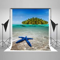 Wholesale Sea Photography Backdrops - Kate5x7ft Blue Sea Beach Background Green Coconut Plam Backdrop for Children Photography Photo Studio Backdrops X34