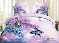 Hot Sale Personalité de la mode active 3D peintures coton exporter literie Purple Butterfly Flowers 4 pièces Duvet Cover Sets Literie
