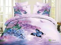 edredones morados al por mayor-Venta caliente de moda personalidad activa 3D pinturas de exportación de algodón ropa de cama Flores de mariposa púrpura 4 Unidades Funda Nórdica Juegos de cama