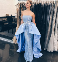 Wholesale Navy Strapless - Gorgeous Strapless Blue Prom Dresses With Satin Train Lace Appliques Sheath Lace Dresses Evening Wear Zipper Back Dubai African Party Dress