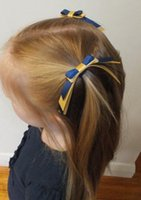 Wholesale green ribbon schools - HOT SALE MINI GIRLS SCHOOL COLOURS RIBBON WATERFALL BOW GIRL PONYTAIL HOLDER PIGTAIL ELASTIC HAIR BAND TIE DROP SHIPPING SALE 20PCS